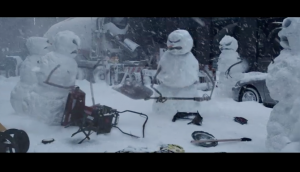 Nissan Rogue screen shot - angry snowmen