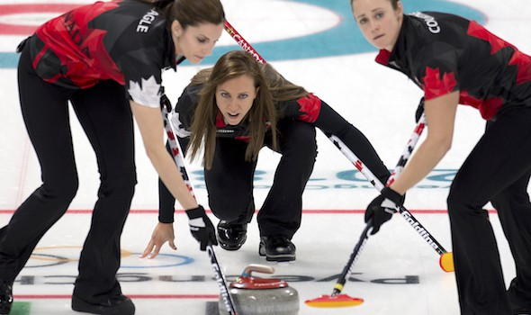 PyeongChang Korea, February 21, 2018.Winter Olympics.Canada skip Rachel Homan, lead Lisa Weagle (L), second Joanne Courtney.WCF/Curling Canada/ michael burns photo