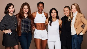(From left to right) Anastasia Adani (CEO, A Plus Creative), Susy Brown (marketing director, Estée Lauder Canada), Phylicia George (Athlete); Alannah Yip (Athlete); Hannah Kelly (Estée Lauder Canada); Julie Sutherland (Estée Lauder Canada).